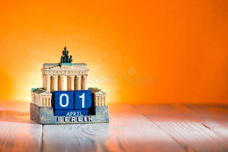 1 calendário Alemanha do dia do ` s de April Fool fotografia de stock