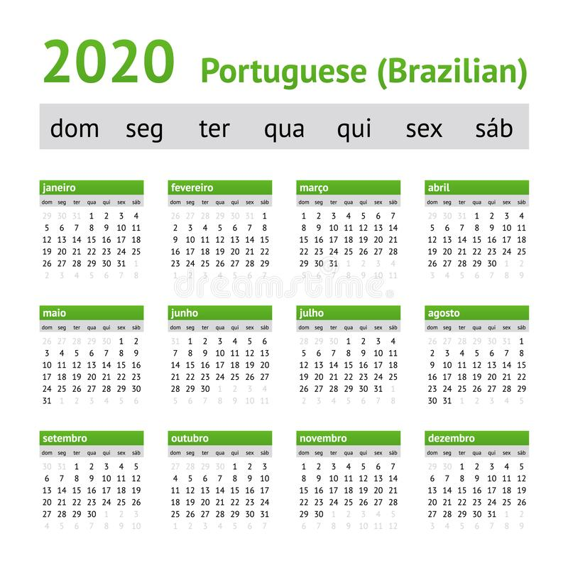 Calendario 2020 Portugal.Calendario 2020 Portugues Domingo Ilustracao Do Vetor