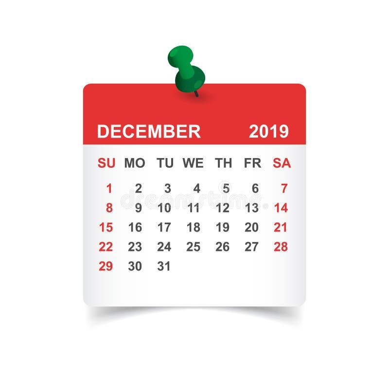 Calendário ano do dezembro de 2019 na etiqueta de papel com pino calendário ilustração stock