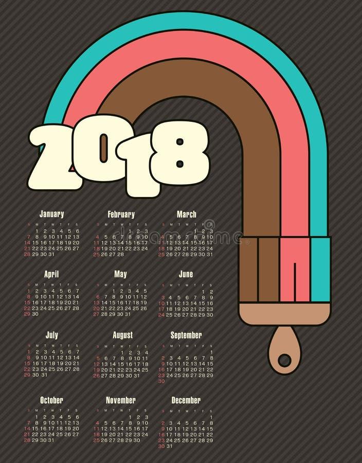 Calendário 2018 anos com raias coloridas imagem de stock royalty free