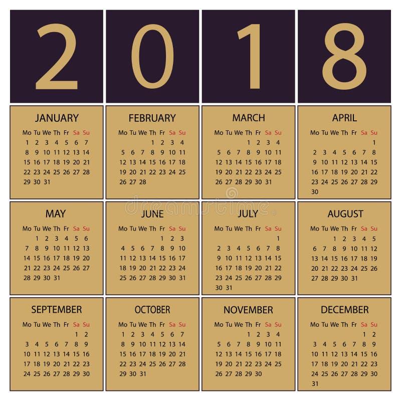 Calendário 2018 anos Começos da semana com segunda-feira imagem de stock