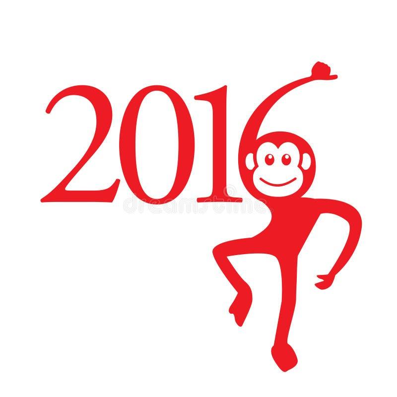 Calendário 2016 anos do macaco: Sinal chinês do zodíaco ilustração royalty free