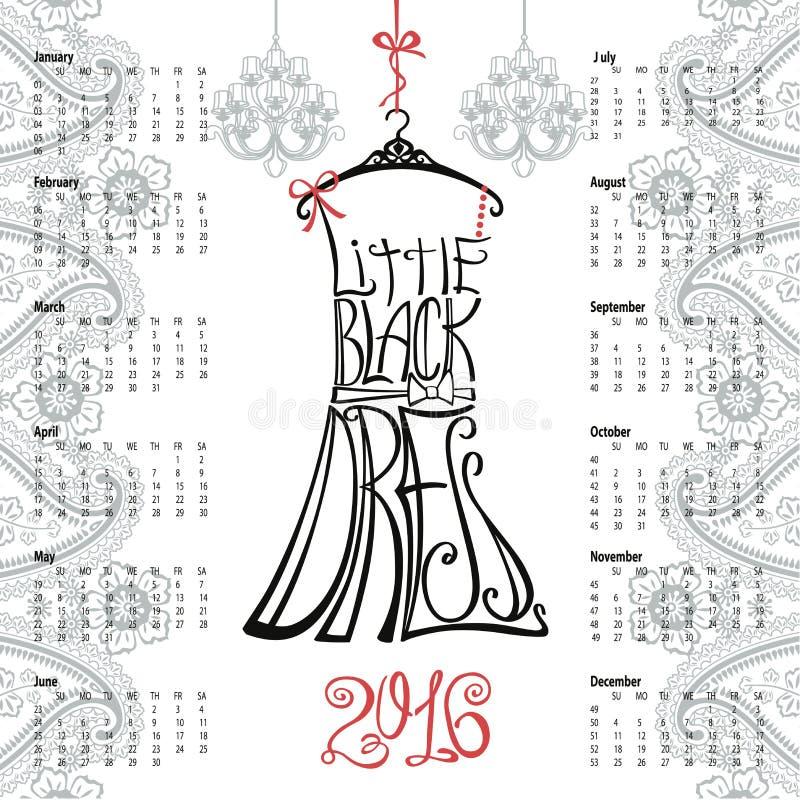 Calendário 2016 anos Rotulando pouco vestido preto ilustração do vetor