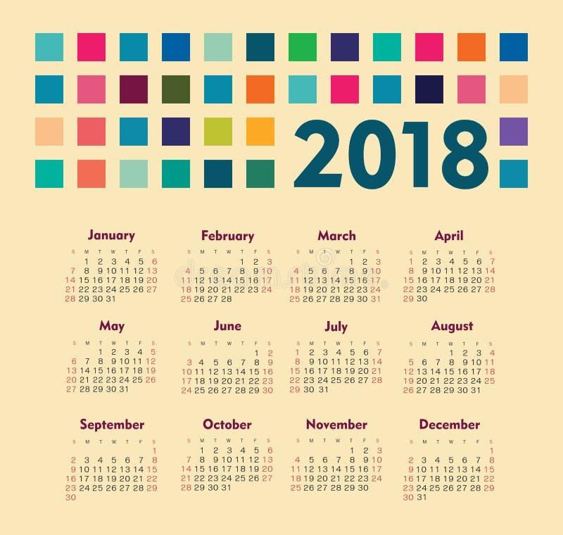 Calendário 2018 anos A semana parte de domingo foto de stock royalty free