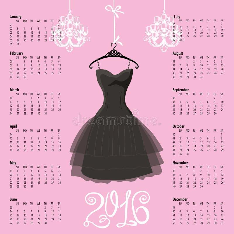 Calendário 2016 anos Silhueta preta do vestido ilustração do vetor