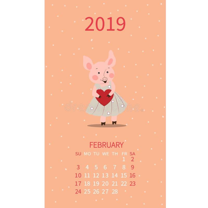 Calendário anual com porcos Ilustração mensal Leitão com coração fevereiro Dia do `s do Valentim Cartaz do vetor, inseto bonito,  ilustração stock