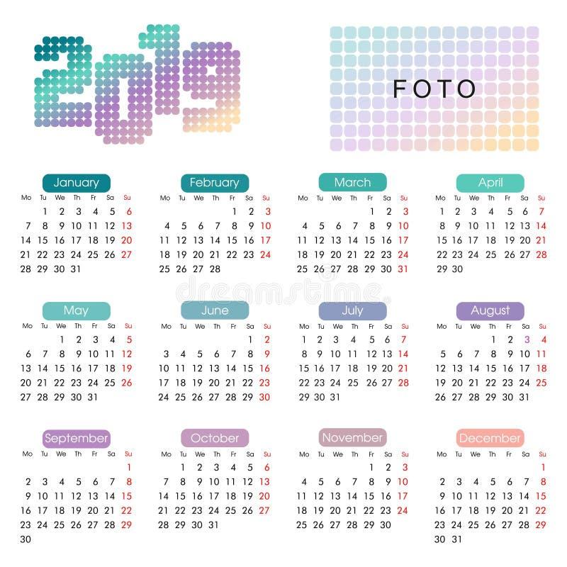 calendário 2019 anual em um estilo geométrico minimalista ilustração stock
