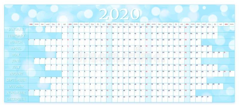 Calendário anual 2020 Modelo de planejador anual Ilustração vetorial ilustração do vetor