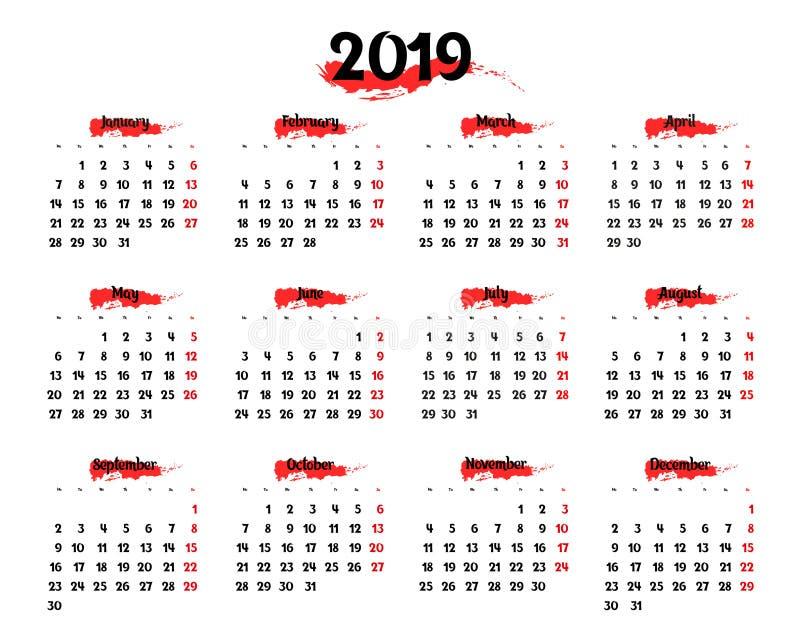 Calendário anual para 2019 com elementos de destaque vermelhos ilustração royalty free