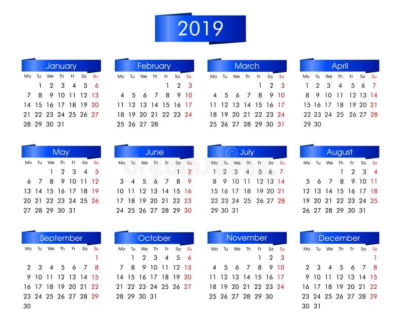 Calendário anual por 2019 anos com o azul ilustração royalty free
