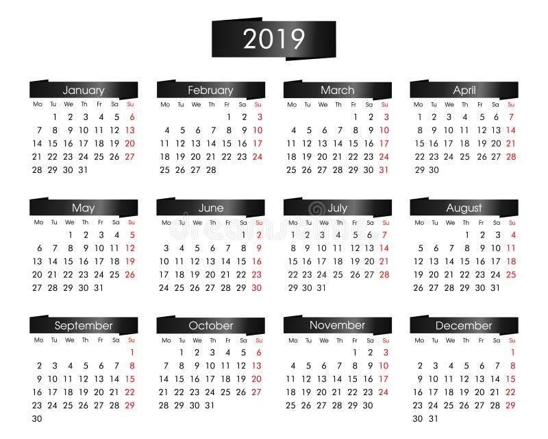 calendário anual por 2019 anos com o preto metálico ilustração do vetor