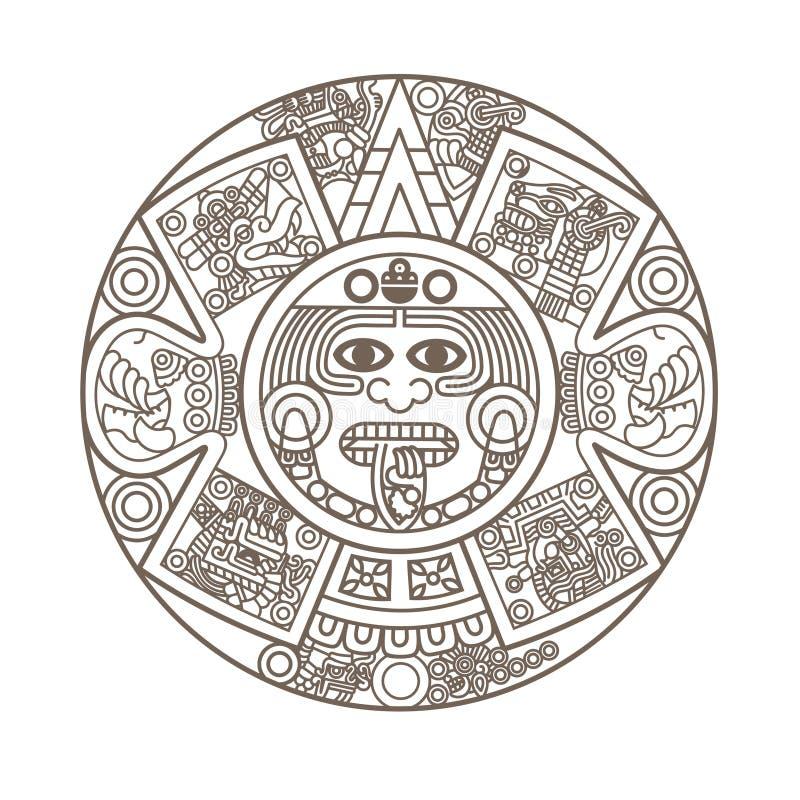 Calendário asteca estilizado ilustração stock