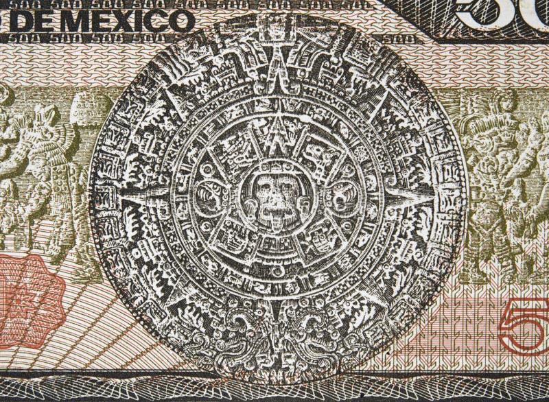 Calendário asteca Sun Pedra Piedra del Solenoide e bas-relevo maia o fotos de stock