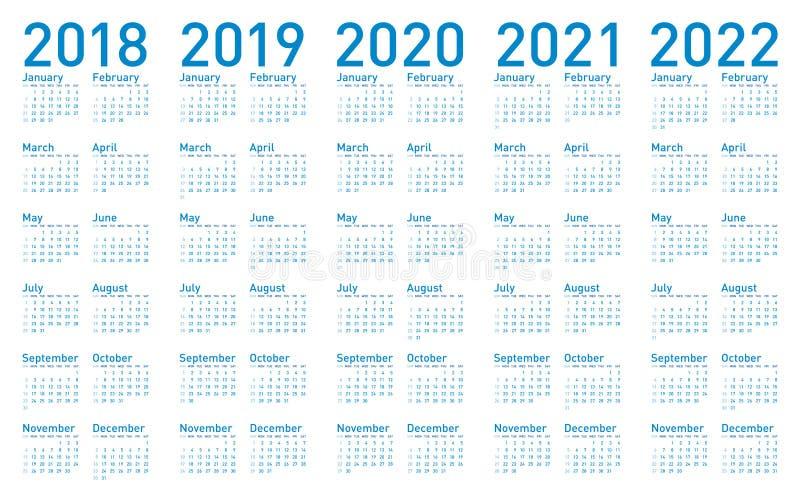 Calendário azul simples pelos anos 2018,2019, 2020, 2021 e 2022 ilustração do vetor