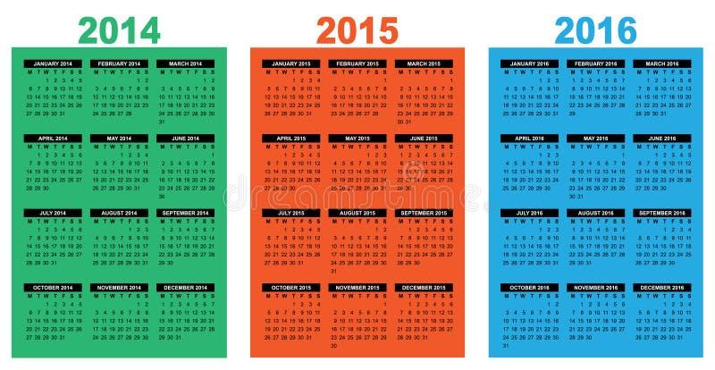 Calendário básico 2014-2016 ilustração royalty free