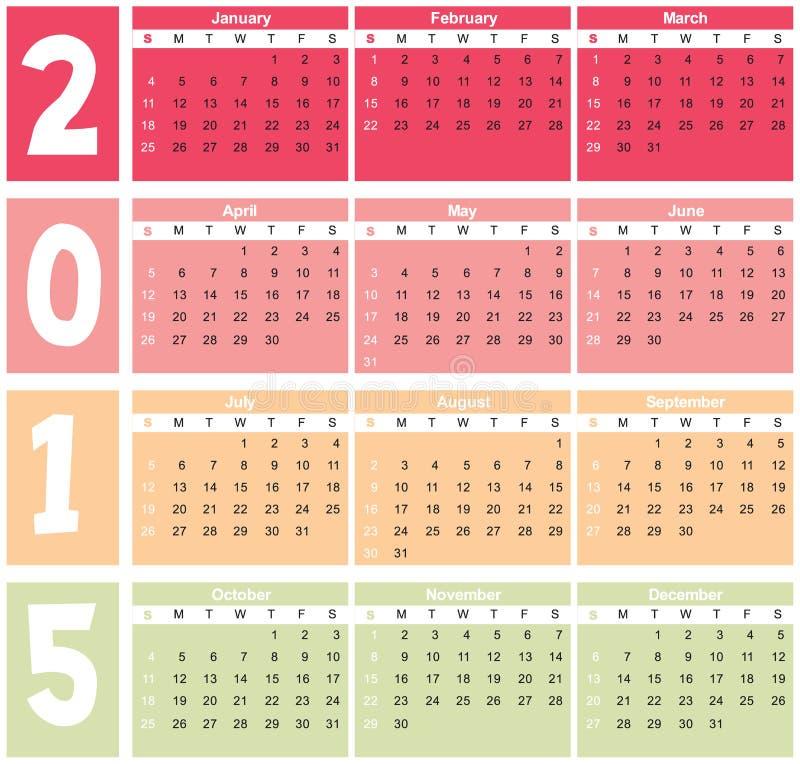 Calendário básico 2015 dentro ilustração stock