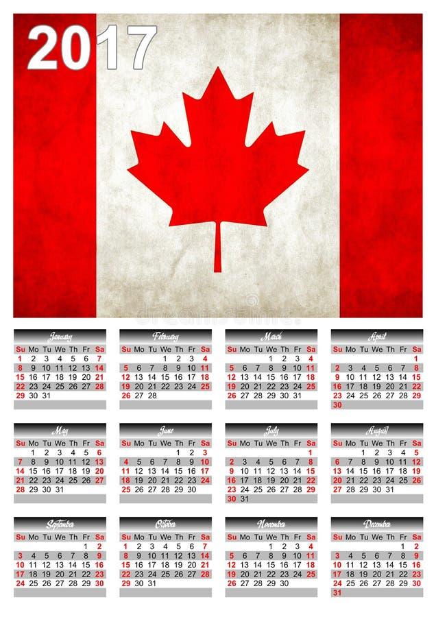 2017 calendário - bandeira canadense da bandeira de país - ano novo feliz imagem de stock