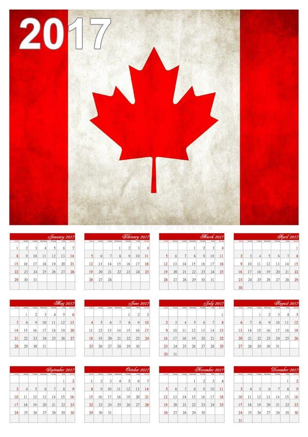 2017 calendário - bandeira canadense da bandeira de país - ano novo feliz fotografia de stock
