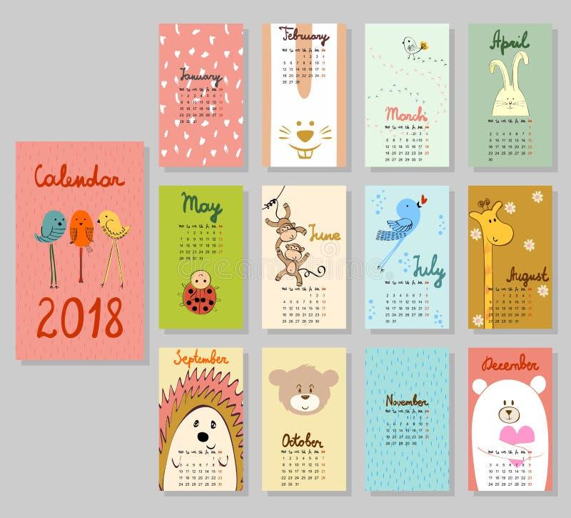 Calendário bonito 2018 foto de stock