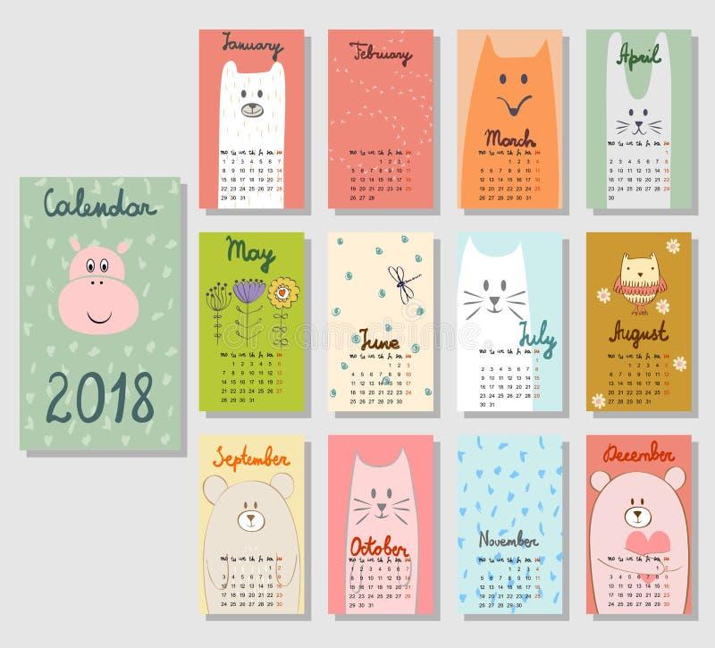 Calendário bonito 2018 imagens de stock