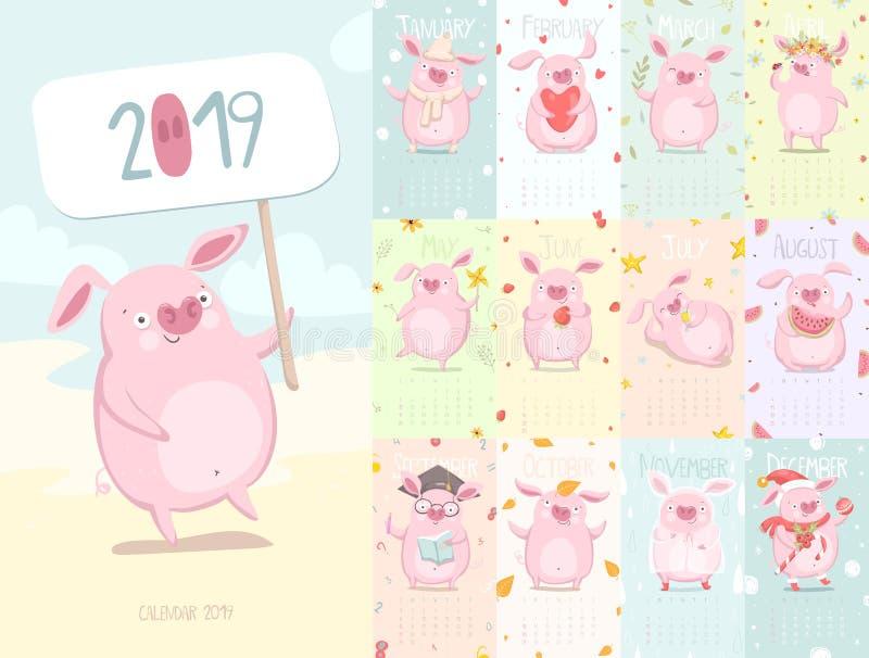 Calendário bonito 2019 com porco ilustração royalty free