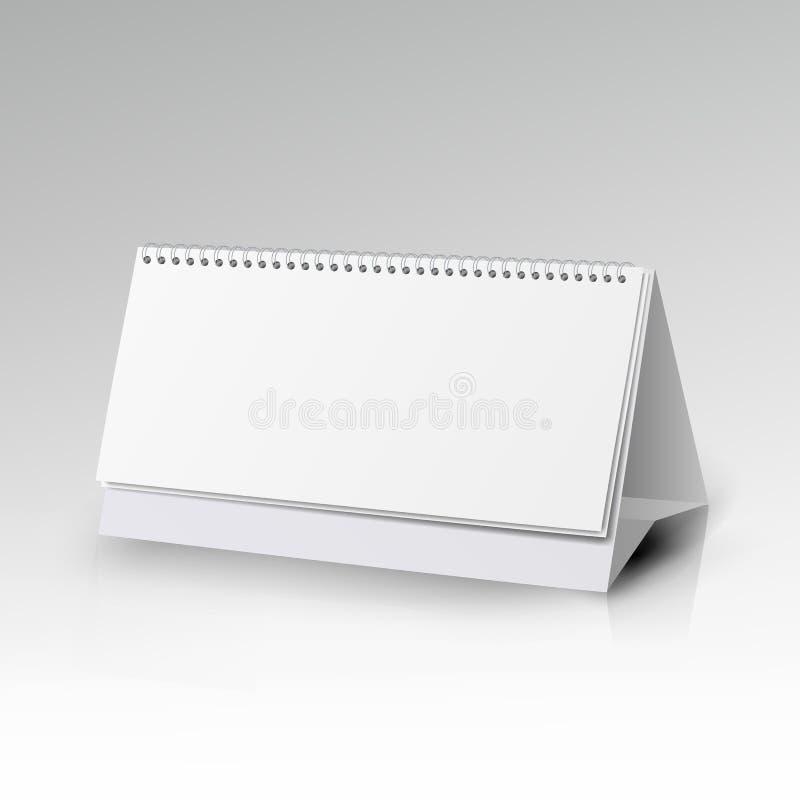 Calendário branco da espiral da mesa do papel vazio Molde espiral do vetor do calendário Calendário vertical da tabela com página ilustração do vetor