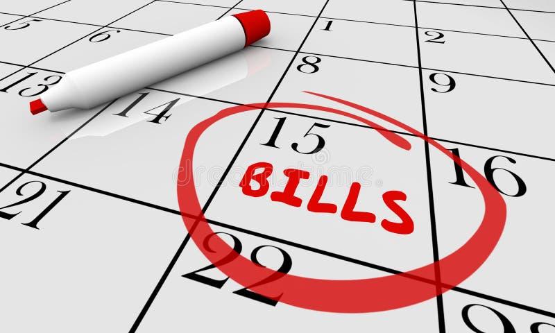 Calendário circundado data aprazada Owe Money Deadline das contas ilustração royalty free