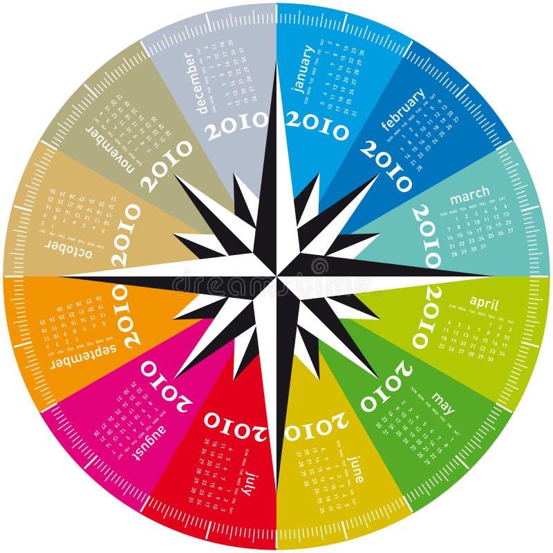 Calendário colorido para 2010. ilustração royalty free