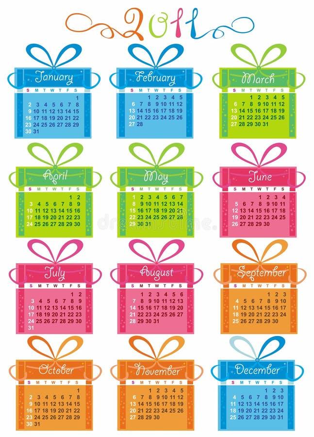 Calendário colorido por o ano 2011 ilustração royalty free