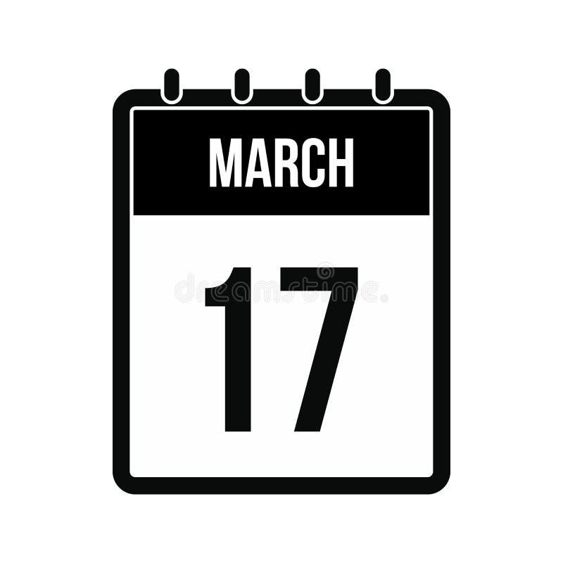 Calendário com ícone da data de dia do St Patricks ilustração do vetor