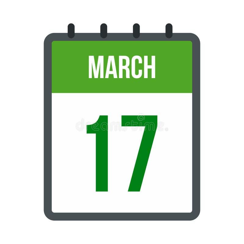 Calendário com ícone da data de dia do St Patricks ilustração stock