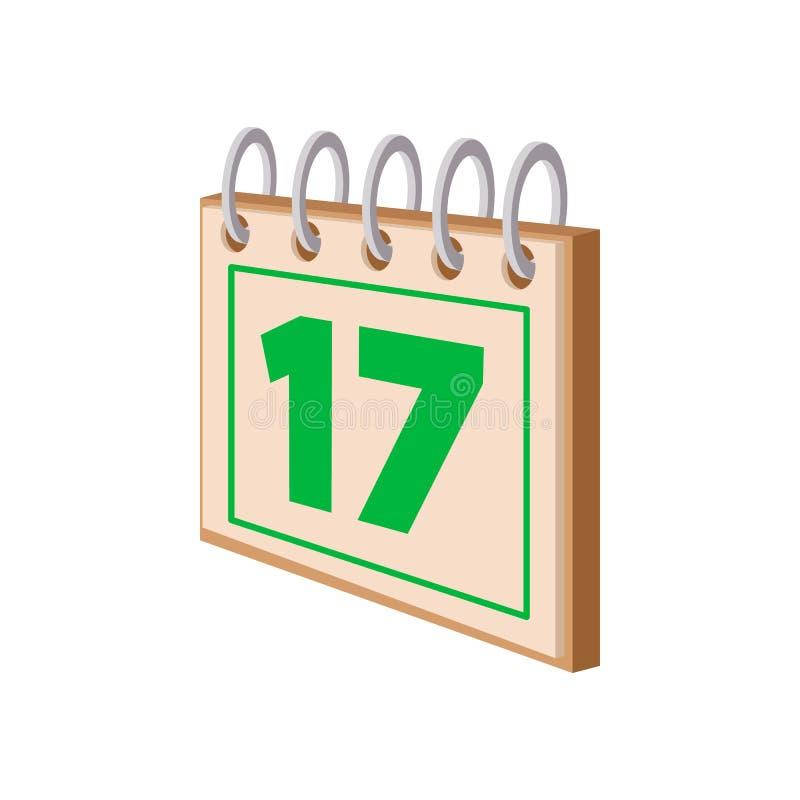 Calendário com ícone dos desenhos animados da data de dia do St Patricks ilustração royalty free