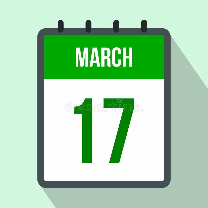 Calendário com ícone liso da data de dia do St Patricks ilustração do vetor