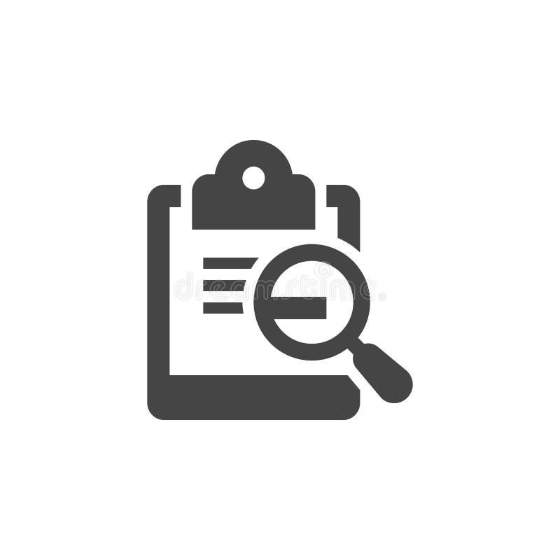 Calendário com ícone liso do preto da lente de aumento Busca pela página dos eventos, nomeações, datas Série da etiqueta da gestã ilustração royalty free