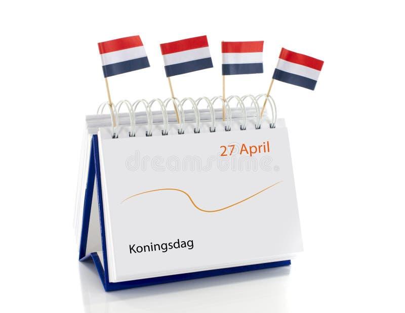Calendário com 27 de abril como kingsday holandês imagem de stock royalty free