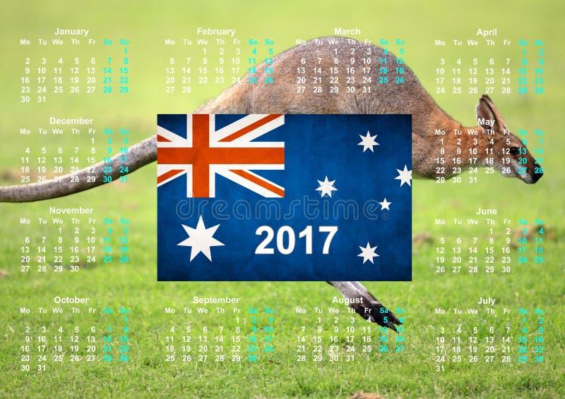 Calendário com bandeira australiana fotos de stock royalty free