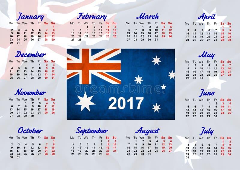 Calendário com bandeira australiana imagem de stock