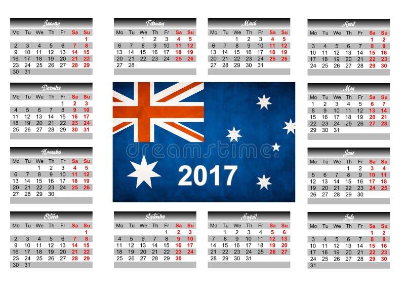 Calendário com bandeira australiana fotografia de stock