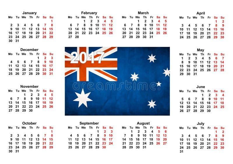 Calendário com bandeira australiana imagens de stock