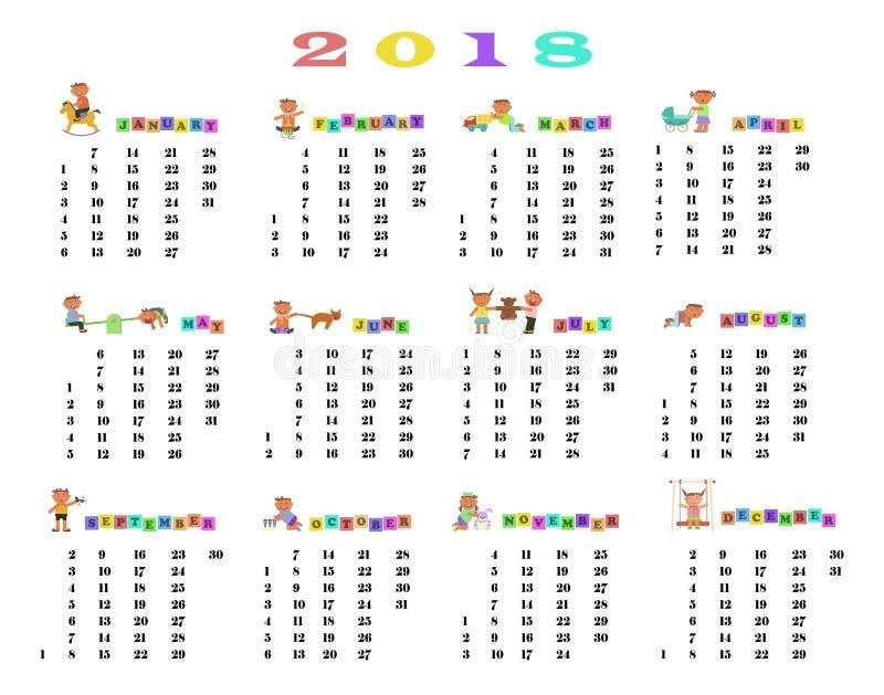 Calendário 2018 com crianças bonitos ilustração stock