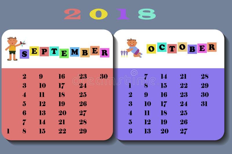 Calendário 2018 com crianças bonitos ilustração royalty free