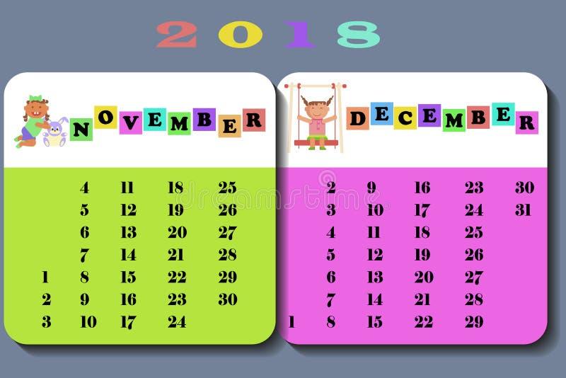 Calendário 2018 com crianças bonitos ilustração do vetor
