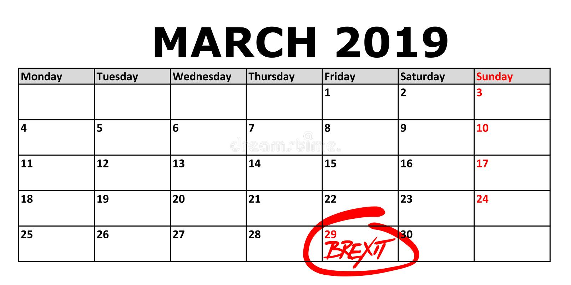 Calendário com data o 29 de março de 2019 marcado em que o Brexit deve ser terminado ilustração stock