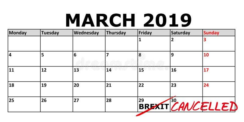 Calendário com data o 29 de março de 2019 marcado em que o Brexit poderia ser cancelado ilustração do vetor