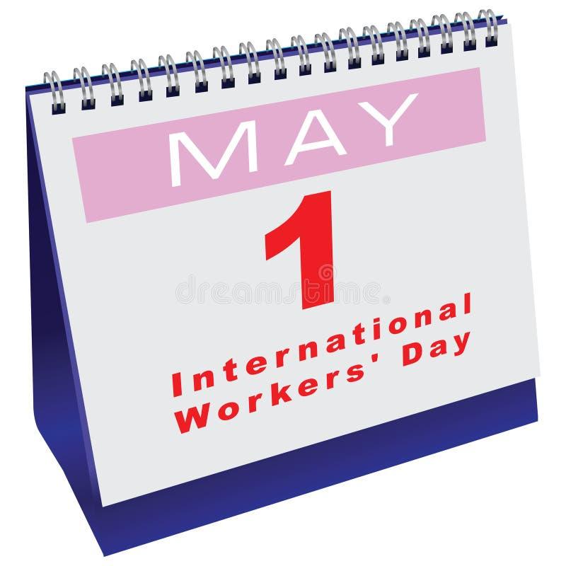 Calendário com dia dos trabalhadores da data ilustração stock