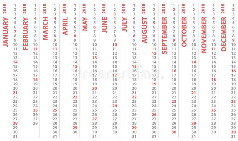 calendário 2018 com fileiras verticais, começos do calendário do projeto do vetor e domingo selecionado ilustração royalty free