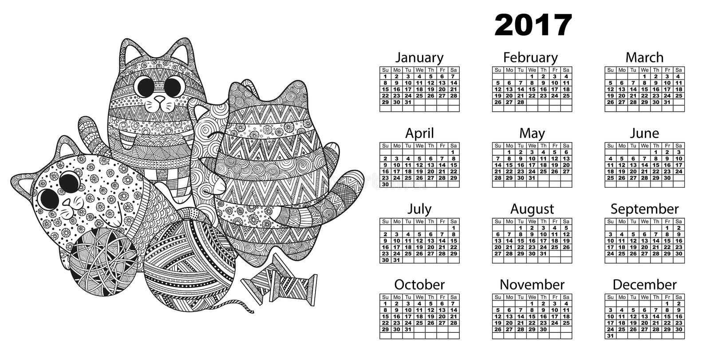 calendário 2017 com gatos ilustração stock