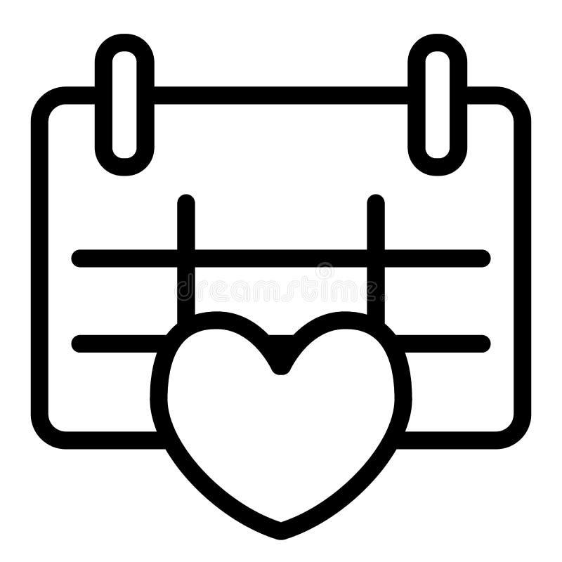 Calendário com linha de coração ícone Ilustração do vetor da data do amor isolada no branco Projeto do estilo do esboço da data d ilustração stock