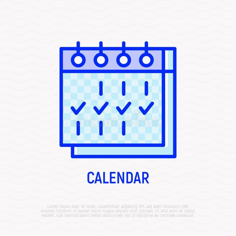 Calendário com linha fina ícone das marcas ilustração stock
