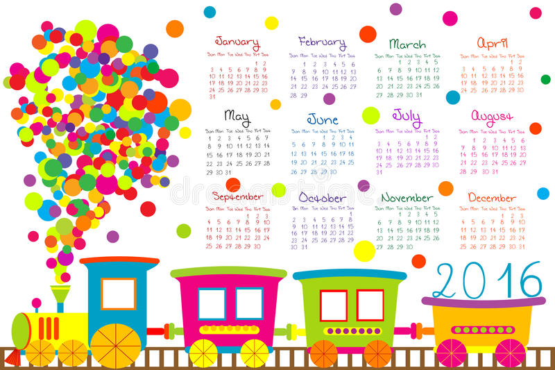 calendário 2016 com o trem dos desenhos animados para crianças ilustração royalty free